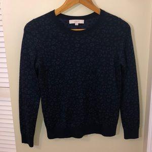 LOFT Blue Leopard Print Sweater